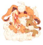 bad_id bad_twitter_id creatures_(company) eevee fire_stone flareon game_freak gen_1_pokemon hideko_(l33l3b) holding looking_at_viewer nintendo no_humans one_eye_closed parted_lips pokemon pokemon_(creature) red_eyes simple_background white_background