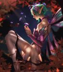1girl adapted_wings aqua_hair autumn_leaves backlighting bare_shoulders breasts bridal_gauntlets bug butterfly choker dress elbow_gloves fairy fairy_wings from_side gloves hair_bun hair_ornament insect liang_xing light_beam light_particles looking_at_another looking_down medium_breasts mercy_(overwatch) miniskirt night overwatch pleated_skirt pointy_ears purple_dress purple_gloves purple_ribbon ribbon ribbon_choker see-through sitting skirt sleeveless sleeveless_dress solo sugar_plum_fairy_mercy thigh-highs tree_branch watermark web_address wings