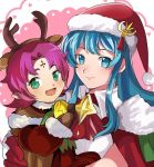 2girls alternate_costume animal_costume antlers aqua_hair bell christmas christmas_tree dress eirika fa facial_mark fire_emblem fire_emblem:_fuuin_no_tsurugi fire_emblem:_seima_no_kouseki fire_emblem_heroes forehead_mark fur_trim gloves green_eyes hat long_hair looking_at_viewer mamkute merry_christmas multiple_girls nintendo open_mouth pointy_ears purple_hair red_dress red_gloves reindeer_costume rem_sora410 sack santa_costume santa_hat short_hair smile
