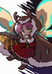 1girl antlers bell brown_gloves cape dragon_wings dress fa facial_mark fire_emblem fire_emblem:_fuuin_no_tsurugi fire_emblem_heroes forehead_mark fur_trim gloves green_eyes hood hood_up kmkr long_sleeves mamkute nintendo open_mouth purple_hair reindeer_antlers short_hair solo wings