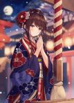 1girl bangs bare_tree blurry blurry_background blush brown_eyes brown_hair closed_mouth commentary_request depth_of_field eyebrows_visible_through_hair floral_print flower full_moon hair_bun hair_flower hair_ornament hands_together hands_up haori head_tilt highres japanese_clothes kanzashi kimono light_particles long_hair long_sleeves looking_at_viewer moon nail_polish necomi night night_sky obi original outdoors print_kimono red_flower red_kimono red_nails sash sidelocks sky smile solo torii tree upper_body white_flower wide_sleeves
