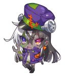 1girl :d armband bangs black_footwear black_hair black_legwear boots chibi crossed_bangs dark_skin eyebrows_visible_through_hair fang full_body hair_between_eyes hat heterochromia highres holding jacket long_sleeves looking_at_viewer multicolored_hair nail open_mouth original pointy_ears purple_hat purple_jacket red_eyes simple_background smile solo standing standing_on_one_leg stitches thigh-highs torn_clothes torn_legwear two-tone_hair violet_eyes westxost_(68monkey) white_background white_hair wrench