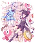 2boys :d ahoge alice_(wonderland) alice_(wonderland)_(cosplay) alice_in_wonderland animal_ears black_hair black_legwear boots cane card checkered checkered_background cosplay cravat cross-laced_footwear cup flower hairband hat heart honebami_toushirou hyou_(pixiv3677917) kneehighs lace-up_boots male_focus mini_hat mini_top_hat multiple_boys namazuo_toushirou open_mouth pantyhose pantyhose_under_shorts pink_flower pink_rose playing_card pocket_watch ponytail puffy_short_sleeves puffy_shorts puffy_sleeves rabbit_ears rose short_sleeves shorts smile teacup teapot top_hat touken_ranbu violet_eyes watch white_hair white_legwear white_rabbit white_rabbit_(cosplay)