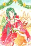 2girls antlers breasts cape cecilia_(fire_emblem) christmas_tree cleavage closed_eyes dress elbow_gloves fa fire_emblem fire_emblem:_fuuin_no_tsurugi fire_emblem_heroes fur_trim gloves green_hair leaning_forward long_hair long_sleeves mamkute multiple_girls nintendo open_mouth pointy_ears ponzu_(pnz_210) purple_hair red_gloves reindeer_antlers short_hair