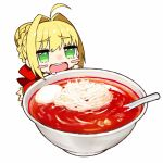 1girl :d ahoge blonde_hair blush_stickers bowl braid braided_bun chibi dress drooling fate/extra fate/extra_ccc fate_(series) food food_request hair_bun hair_intakes highres kou_mashiro nero_claudius_(fate) nero_claudius_(fate)_(all) open_mouth red_dress round_teeth simple_background smile solo spoon teeth white_background