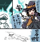 >_< 1boy 1girl :o admiral_(kantai_collection) anchor_symbol animal_ears asashio_(kantai_collection) black_hair blush cape cat_ears comic commentary_request dress faceless faceless_male gloves hat heart_monitor kantai_collection long_sleeves lowres lying on_stomach peaked_cap pinafore_dress remodel_(kantai_collection) terrajin translation_request trick_or_treat wand white_gloves witch_hat