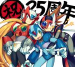 3boys android anniversary axl blonde_hair blue_eyes blush brown_hair capcom commentary_request gloves green_eyes hand_on_hip helmet iroyopon leg_up long_hair male_focus multiple_boys one_eye_closed open_mouth ponytail rockman rockman_x smile spiky_hair text_focus tongue tongue_out v very_long_hair white_background white_gloves x_(rockman) zero_(rockman)