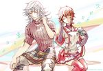 1boy 1girl armor closed_eyes gloves long_hair lora_(xenoblade_2) nintendo parted_lips pauldrons redhead shin_(xenoblade) short_hair simple_background skirt smile white_hair xenoblade_(series) xenoblade_2 xenoblade_2:_ogon_no_kuri_ira zin_(mame_denkyu)