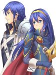 1boy 1girl blue_hair cape father_and_daughter fingerless_gloves fire_emblem fire_emblem:_kakusei gloves holding holding_sword holding_weapon krom long_hair lucina nintendo pauldrons rere_(yusuke) smile sword weapon