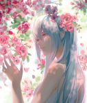 1girl bare_shoulders blue_eyes blue_hair dappled_sunlight day dress e-ma_(pixiv6933729) eyebrows_visible_through_hair eyelashes facing_away flower half-closed_eyes hand_up hatsune_miku highres leaf light_smile long_hair parted_lips petals pink_flower shaded_face sleeveless sleeveless_dress smile solo sunlight very_long_hair vocaloid white_dress