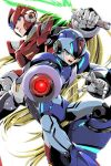 2boys alternate_design android arm_cannon beam_saber blonde_hair blue_eyes brown_hair capcom commentary_request energy_blade energy_sword green_eyes highres holding holding_weapon long_hair male_focus multiple_boys open_mouth ponytail robot_joints rockman rockman_x serious simple_background sword teeth very_long_hair weapon white_background x_(rockman) yukinbo78 zero_(rockman)