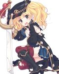 1girl armband blonde_hair blue_eyes blush boots broken broken_weapon collared_coat cutlass hat highres kneeling looking_at_viewer military_hat monica_weisswind official_art open_mouth princess_connect! purple_legwear solo thigh-highs torn_clothes torn_jacket torn_legwear transparent_background twintails weapon