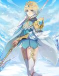 1girl absurdres blonde_hair blue_eyes blue_hair cape closed_mouth crown dress earrings feather_trim fire_emblem fire_emblem_heroes fjorm_(fire_emblem_heroes) gradient_hair highres holding holding_weapon jewelry kokouno_oyazi multicolored_hair nintendo polearm short_dress short_hair snow snowing solo spear weapon white_legwear