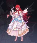 1girl arrow bow_(weapon) bride dress faithom fire_emblem fire_emblem:_kakusei fire_emblem_heroes full_body hair_ornament high_heels highres holding holding_arrow holding_bow_(weapon) holding_weapon long_hair nintendo one_eye_closed open_mouth red_eyes redhead see-through sleeveless sleeveless_dress solo standing tiamo weapon wedding_dress white_dress wing_hair_ornament