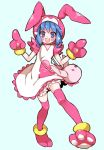 1girl :d animal_costume animal_hood blue_background blue_hair bunny_costume bunny_hood chino_machiko copyright_request dress full_body gloves hood hood_up looking_at_viewer open_mouth paw_gloves paws pink_legwear simple_background smile solo standing thigh-highs violet_eyes white_dress