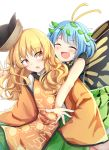 2girls :d :o antennae bare_arms behind_another bending_forward blonde_hair blue_hair blush butterfly_wings chinese_commentary closed_eyes commentary_request constellation_print cowboy_shot eternity_larva green_skirt hat_loss highres imminent_hug leaf leaf_on_head long_hair long_sleeves looking_at_another looking_back matara_okina multiple_girls open_mouth orange_eyes outstretched_arms pleated_skirt short_hair simple_background skirt sleeves_past_fingers sleeves_past_wrists smile tabard touhou white_background wide_sleeves wings yu_cha