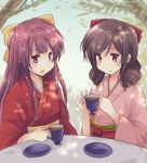 2girls bow brown_hair closed_mouth cup drill_hair eyebrows_visible_through_hair gradient_hair hair_bow hakama harukaze_(kantai_collection) hirune_(konekonelkk) holding holding_cup japanese_clothes kamikaze_(kantai_collection) kantai_collection kimono long_hair meiji_schoolgirl_uniform multicolored_hair multiple_girls open_mouth outdoors pink_hair pink_hakama pink_kimono purple_hair red_bow red_eyes red_hakama red_kimono ribbon saucer table tea teacup tree tree_shade twin_drills violet_eyes yellow_bow