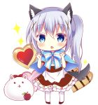 1girl angora_rabbit animal animal_ear_fluff animal_ears apple bangs bitter_crown black_skin blue_bow blue_capelet blue_eyes blue_hair blush bow capelet chestnut_mouth chibi claw_pose commentary_request cookie eyebrows_visible_through_hair food frilled_skirt frills fruit full_body gochuumon_wa_usagi_desu_ka? hair_between_eyes hair_ornament hands_up heart kafuu_chino kemonomimi_mode long_hair pantyhose parted_lips rabbit red_apple shirt side_ponytail skirt sparkle standing striped striped_bow tail tippy_(gochiusa) very_long_hair white_background white_legwear white_shirt wolf_ears wolf_girl wolf_tail x_hair_ornament