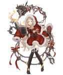 1girl :d belt blonde_hair bone book boots candle capelet chains christmas cross-laced_footwear eyebrows_visible_through_hair full_body fur_trim hair_ornament hairclip hood hood_up ji_no little_red_riding_hood_(sinoalice) long_hair looking_at_viewer official_art open_mouth orange_eyes ribbon sinoalice sleeves_past_wrists smile solo thigh-highs thigh_boots torture_instruments transparent_background upper_teeth very_long_hair