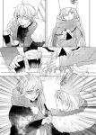 1boy 1girl anastasia_(fate/grand_order) bench black_shirt cold comic cup disposable_cup doll earrings emphasis_lines fate/grand_order fate_(series) giving greyscale hair_over_one_eye jewelry kadoc_zemlupus long_hair monochrome papakha scarf shirt shvibzik_snow tsengyun