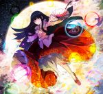 1girl black_hair branch cherry_blossoms danmaku floral_print frilled_sleeves frills frown full_moon hime_cut houraisan_kaguya jeweled_branch_of_hourai kuro_nasu long_hair moon pointing red_eyes red_footwear red_skirt skirt sky solo star_(sky) starry_sky touhou tree wide_sleeves