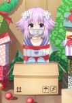 1girl agung_syaeful_anwar blush box choker christmas collarbone d-pad d-pad_hair_ornament gagged gift hair_between_eyes hair_ornament hood hooded_jacket in_box in_container indoors jacket knees_up looking_at_viewer neptune_(choujigen_game_neptune) neptune_(series) purple_hair red_ribbon restrained ribbon short_hair sitting sleeveless_jacket solo striped striped_legwear thigh-highs violet_eyes white_choker