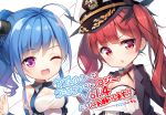 2girls :d ahoge azur_lane black_jacket blue_hair blush breasts character_request chibi cleavage commentary_request crossed_arms elbow_gloves gloves hair_ornament highres honolulu_(azur_lane) jacket jacket_over_shoulder long_hair looking_at_viewer medium_breasts multiple_girls nijihashi_sora one_eye_closed one_side_up open_mouth parted_lips red_eyes redhead smile translation_request twintails violet_eyes white_gloves