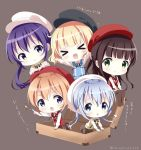 >_< 5girls :d alternate_costume arm_support bangs black_hat black_ribbon blonde_hair blue_eyes blue_hair brown_background brown_hair brown_legwear brown_skirt cabbie_hat chestnut_mouth chibi closed_mouth collared_shirt commentary_request eyebrows_visible_through_hair gochuumon_wa_usagi_desu_ka? green_eyes hair_between_eyes hat hoto_cocoa kafuu_chino kirima_sharo light_brown_hair long_hair low_ponytail matching_outfit minigirl multiple_girls neck_ribbon neki_(wakiko) no_shoes open_mouth outstretched_arms pantyhose pointing purple_hair red_hat ribbon shirt side_ponytail simple_background sitting skirt smile sparkle standing star suitcase sweater_vest tedeza_rize translation_request twitter_username ujimatsu_chiya very_long_hair violet_eyes white_hat white_shirt xd
