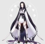 absurdly_long_hair bad_id bad_twitter_id bangs black_footwear black_hair closed_mouth detached_sleeves dual_wielding forehead grey_background highres holding holding_sword holding_weapon japanese_clothes katana keemu_(occhoko-cho) kimono loafers long_hair long_sleeves looking_at_viewer original pale_skin parted_bangs pigeon-toed red_eyes shoes sleeves_past_fingers sleeves_past_wrists smile standing sword thigh-highs very_long_hair very_long_sleeves weapon white_kimono white_legwear