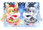 2girls :d :o animal_ear_fluff animal_ears bangs bell black_bow black_capelet black_footwear blonde_hair blush bow capelet chibi christmas commentary_request eyebrows_visible_through_hair fang fox_ears fox_girl fox_tail fur-trimmed_capelet fur-trimmed_sleeves fur_trim green_eyes green_hairband green_skirt grey_hairband grey_skirt hair_between_eyes hair_bow hairband holding holding_sack long_hair long_sleeves looking_at_viewer merry_christmas multiple_girls open_mouth original parted_lips red_bow red_capelet red_footwear sack shikito side_ponytail silver_hair skirt smile socks star tail very_long_hair violet_eyes white_legwear