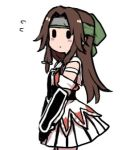 1girl blush brown_hair commentary_request cowboy_shot headband jintsuu_(kantai_collection) kantai_collection long_hair lowres pleated_skirt remodel_(kantai_collection) simple_background skirt solid_oval_eyes solo terrajin v_arms white_background