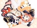 1girl ahoge bangs chinese_clothes cleavage_cutout detached_sleeves earrings floral_print garter_straps hair_ornament hairclip highres hood hood_up jewelry legs looking_at_viewer love_live! love_live!_sunshine!! lying makura_(makura0128) mouth_hold on_back orange_hair panda panda_hood print_skirt red_eyes red_skirt short_hair skirt sleeves_past_fingers sleeves_past_wrists solo striped striped_legwear takami_chika thigh-highs vertical-striped_legwear vertical_stripes