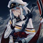 1girl absurdres azur_lane bangs blue_eyes breasts capelet choker closed_mouth clouds cloudy_sky commentary_request cross cross_earrings earrings eyebrows_visible_through_hair flag gloves hair_between_eyes hand_up hat highres holding_pole jacket jewelry long_hair military military_hat military_uniform official_art outdoors peaked_cap rain septoleaf sidelocks silver_hair sky solo tirpitz_(azur_lane) tsurime uniform white_gloves