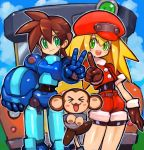 1boy 1girl animal bike_shorts bike_shorts_under_shorts blonde_hair blush brown_gloves brown_hair cabbie_hat commentary_request dakusuta data_(rockman_dash) gloves green_eyes hair_between_eyes hat headwear_removed helmet helmet_removed highres holding holding_helmet index_finger_raised long_hair monkey open_mouth red_hat red_shorts rock_volnutt rockman rockman_dash roll_caskett shorts smile v