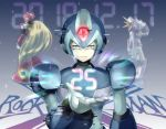 3boys android axl blonde_hair capcom commentary_request copyright_name gloves gradient gradient_background green_eyes gun helmet holding holding_gun holding_weapon light_smile long_hair male_focus multiple_boys origami15_xza ponytail rockman rockman_x standing weapon white_gloves x_(rockman) zero_(rockman)