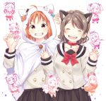 2girls :d ^_^ ahoge animal_ears animal_hood bangs bat_hair_ornament bell bell_collar black_skirt blush bow bowtie braid candy_hair_ornament cape capelet cat_ears chibi chibi_inset claw_pose clenched_teeth closed_eyes closed_eyes collar crown crown_braid demon_horns dog_hood double-breasted fangs food_themed_hair_ornament ghost_hair_ornament gloves grey_hair hair_bow hair_ornament hair_rings halloween halloween_costume hands_up highres holding_lollipop hood hood_up hooded_capelet horns jack-o'-lantern jack-o'-lantern_hair_ornament kunikida_hanamaru kurosawa_dia kurosawa_ruby long_hair long_sleeves looking_at_viewer love_live! love_live!_sunshine!! makura_(makura0128) matsuura_kanan multiple_girls ohara_mari open_mouth orange_hair paw_gloves paws pleated_skirt ponytail red_collar red_eyes red_neckwear sakurauchi_riko school_uniform serafuku short_hair skirt smile takami_chika teeth tsushima_yoshiko two_side_up uranohoshi_school_uniform v-shaped_eyebrows watanabe_you white_capelet