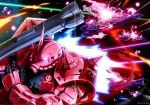 absurdres bazooka beams explosion glowing glowing_eye gundam highres joined_pages mecha mobile_suit_gundam no_humans official_art red_eyes salamis_class space space_craft third-party_edit weapon zaku_ii_s_char_custom
