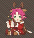 +_+ 1girl antlers boots box brown_gloves cape dress fa facial_mark fire_emblem fire_emblem:_fuuin_no_tsurugi fire_emblem_heroes forehead_mark full_body fur_trim gift gift_box gloves green_eyes kyufe long_sleeves mamkute nintendo open_mouth pointy_ears purple_hair reindeer_antlers short_hair simple_background sitting solo