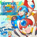 1girl 4boys android anniversary arm_cannon axl blonde_hair blue_eyes brown_hair capcom commentary_request copyright_name double_v green_eyes helmet long_hair male_focus multiple_boys open_mouth rockman rockman_(character) rockman_x roll scar smile spiky_hair teeth text_focus tobitori v weapon x_(rockman) zero_(rockman)