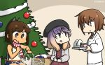 3girls beret black_hat brown_eyes brown_hair christmas_lights christmas_tree commentary_request dated dress feet_out_of_frame food gradient_hair grey_jacket hair_ornament hairclip hamu_koutarou hat highres i-401_(kantai_collection) jacket kantai_collection kappougi medium_hair multicolored_hair multiple_girls necktie one-piece_swimsuit onigiri orange_hair orange_sailor_collar plaid plaid_dress ponytail purple_hair red_neckwear sailor_collar scarf school_swimsuit short_hair short_ponytail sidelocks sitting striped striped_scarf swimsuit swimsuit_under_clothes tsushima_(kantai_collection) violet_eyes wakaba_(kantai_collection)