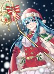 1girl aqua_eyes aqua_hair bow candle cape closed_mouth eirika fire_emblem fire_emblem:_seima_no_kouseki fire_emblem_heroes fur_trim gloves hat holding holding_staff long_hair maji_(majibomber) nintendo pom_pom_(clothes) red_gloves red_hat santa_costume santa_hat sleeveless smile snowing solo staff twitter_username upper_body