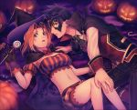 1boy 1girl armpits blonde_hair breasts cecilia_lynne_adelhyde cleavage commentary_request halloween hat legs midriff navel short_hair shorts wild_arms wild_arms:_million_memories wild_arms_1 yururi-ra