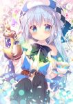 1girl angora_rabbit animal animal_on_head bangs black_hair black_legwear blue_eyes blue_hair blush bow bowtie bunny_on_head commentary_request cup detached_sleeves dress floral_background gochuumon_wa_usagi_desu_ka? hair_ornament hat holding holding_cup holding_teapot kafuu_chino light_blue_hair long_hair long_sleeves looking_at_viewer mitsumomo_mamu on_head rabbit saucer solo striped striped_legwear teacup thigh-highs tippy_(gochiusa) vertical-striped_legwear vertical_stripes x_hair_ornament