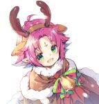 1girl antlers bell bow cape fa facial_mark fire_emblem fire_emblem:_fuuin_no_tsurugi fire_emblem_heroes forehead_mark fur_trim green_eyes mamkute miwabe_sakura nintendo open_mouth pointy_ears purple_hair reindeer_antlers short_hair simple_background solo upper_body white_background