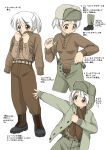 1girl black_footwear boots brown_eyes dressing ebifly eyebrows_visible_through_hair green_jacket green_pants hat how_to jacket military military_uniform multiple_views numbered original pants ponytail short_hair simple_background standing suspenders sweater translation_request uniform white_background white_hair