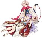 1boy 1girl black_gloves bow_(weapon) breasts camilla_(fire_emblem_if) cleavage closed_mouth commission fire_emblem fire_emblem_heroes fire_emblem_if flower gloves hair_flower hair_ornament hair_over_one_eye holding holding_bow_(weapon) holding_weapon japanese_clothes lap_pillow lilith_(fire_emblem_if) long_hair male_my_unit_(fire_emblem_if) my_unit_(fire_emblem_if) nintendo parted_lips plushcharm pointy_ears purple_hair red_eyes sandals short_hair side_slit simple_background sitting tabi tiara twitter_username violet_eyes weapon white_background white_hair