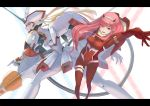 1girl arm_behind_back arm_up bangs blue_eyes bodysuit breasts closed_mouth darling_in_the_franxx hairband heterochromia highres horns kota_(tokiwa) legs_apart letterboxed long_hair mecha medium_breasts oni_horns pilot_suit pink_hair red_bodysuit red_eyes smile solo straight_hair strelizia tongue tongue_out white_hairband zero_two_(darling_in_the_franxx)
