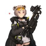 1girl bangs black_coat black_gloves blush buckle bullpup cero_(last2stage) choker collarbone commentary_request double_bun eyebrows_visible_through_hair eyewear_on_head gas_mask girls_frontline gloves gun heart highres holding holding_gun holding_weapon hood hood_down hooded_coat jacket korean_commentary light_brown_hair load_bearing_equipment open_clothes p90 p90_(girls_frontline) parted_bangs partly_fingerless_gloves red_eyes scope simple_background smile snap-fit_buckle solo spoken_heart submachine_gun sunglasses thigh_strap tinted_eyewear trigger_discipline weapon white_background