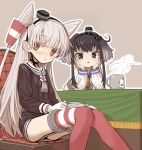 2girls amatsukaze_(kantai_collection) anchor_symbol black_hair book brown_background brown_dress brown_eyes cat chair commentary_request cup dress garter_straps gloves gradient_hair hair_tubes hat kantai_collection long_hair mini_hat monaka_ooji mug multicolored_hair multiple_girls red_legwear sailor_dress short_dress short_hair short_hair_with_long_locks sidelocks silver_hair simple_background single_glove sitting steam striped striped_legwear table thigh-highs tokitsukaze_(kantai_collection) two_side_up windsock