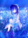 1girl animal animal_on_lap bangs beret blue cat cat_on_lap dress flower hat hat_ribbon koneko_mari long_sleeves original outdoors ribbon sitting soaking_feet solo stream water_drop white_cat
